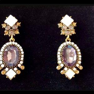 Gold Amethyst and Opal Dangle Earrings